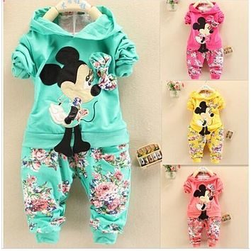 NYSR 2017 Spring baby Girls Clothing set Minnie mouse Full sleeve hoodies+pants suit children casual cotton clothes kid outfits