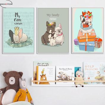 OKHOTCN Framed Nordic Cute Animal Dog Modern Wall Art Painting On Canvas Cartoon Poster Girls Kids Bedroom Decoration Framework