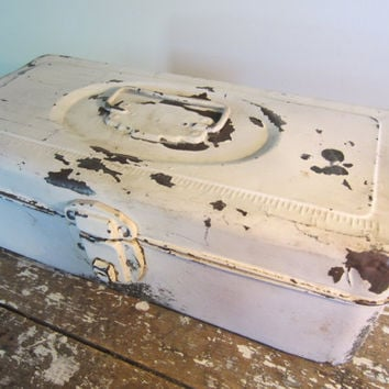 Shabby Chic White Union Chest Fishing Box Jewelry Box Rustic Storage