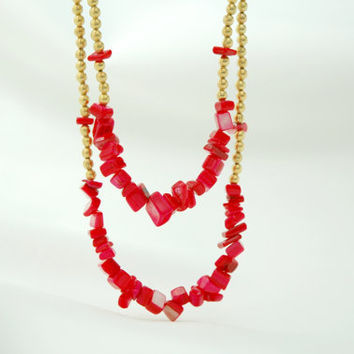Red Mother of Pearl Beaded Gold Plated Necklace with Red Silk Fabric Cord