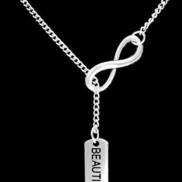 Inspirational Infinity Beautiful Strong Woman Gift Motivational Lariat Necklace