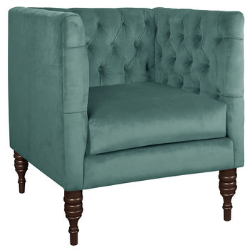 Churchill Velvet Tufted Club Chair, Teal, Club Chairs