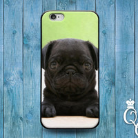 iPhone 4 4s 5 5s 5c 6 6s plus iPod Touch 5th Gen Cover Case Adorable Black Puppy Bulldog Dog Pug Pup Cute Funny Fun Animal Baby Cool Rubber