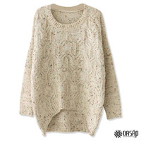 Favorite Women Round Neckline Long Sleeves High-Low Cable Sweater