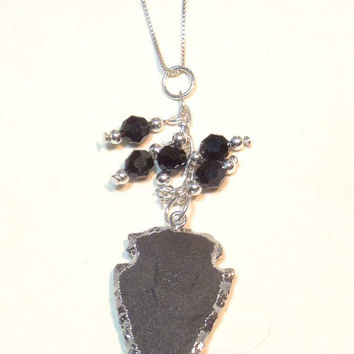 Arrowhead Necklace Sterling Silver Necklace - Black Swarovski Crystal