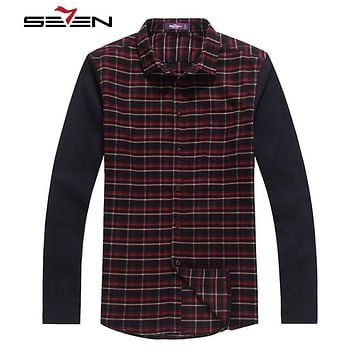 Fashion Men Plaid Shirts Long Sleeve Slim Fit Contrast Dress Casual Flannel Shirt Cotton Men Clothes