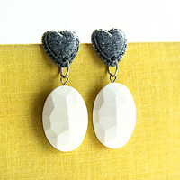 White polymer faux stone dangle clay earrings Gray heart drop clay earrings Heart and stones statement earrings