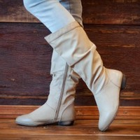 Elegant Ritany-5 Nude Slouchy Flat Mid Calf Boot - Shoes 4 U Las Vegas