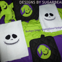 Oogie Boogie Towels or Pot Holders Set of TWO Your CHOICE Nightmare Before Christmas Jack Skellington Designs by Sugarbear Boutique Unique
