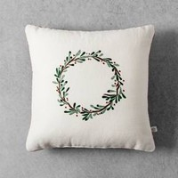 "Embroidered Wreath Throw Pillow (14"") - Cream - Hearth & Hand™ with Magnolia"