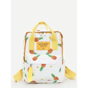 Pineapple Print convertible Backpack White