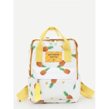 Pineapple Print convertible Backpack