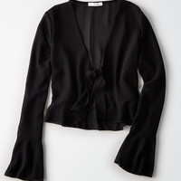 Don't Ask Why Chiffon Off-The-Shoulder Top, Black