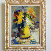 """Italian art """"Flowers abstract"""" n03 materic oil painting with frame painter Paolo Massimo Abrans Italy aly"""