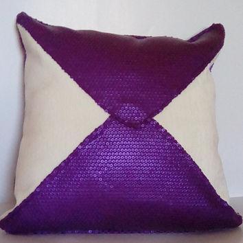 Purple Sequins w/ White Chenille (Purple Passion Collection) Luxury Pillow Cover