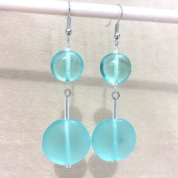 Turquoise Sea Glass Graduated Dangle Earrings, Handmade Original Fashion Jewelry, Beach Colors Long Earrings Colors of the Sea Ladies Gift