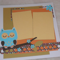 12x12 Premade Girl Scrapbook Layout with Owl