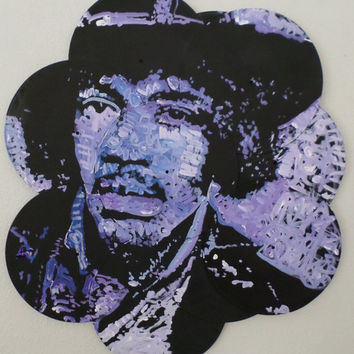 The Jimi Hendrix Experience - Original Unique Handpainted Art on Vinyl Records - Upcycled Recycled Records - Great Gift Idea