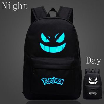 2017 New Design  Gengar Backpack For Teenagers Anime Luminous Backpack Nylon Cartoon Mochila Emoji School Bags For KidsKawaii Pokemon go  AT_89_9