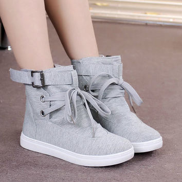 Fashion Women Lady Lace Up Sneakers Buckle Strap Hiking Flats Ankle Boots High Top Canvas Sports Flats Shoes Winter Autumn [9819218063]