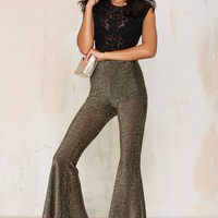 Nasty Gal Flyin' Sparks Metallic Flare Pants
