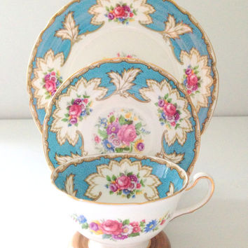 English Bone China Royal Grafton Academy Pattern Teacup, Saucer & Dessert Plate Trio Tea Party Beach Wedding Inspiration