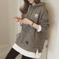 """Adidas"" Women Sport Casual Fashion Multicolor False Two-Piece Long Sleeve Hooded Sweater Pullover Hoodie Tops"