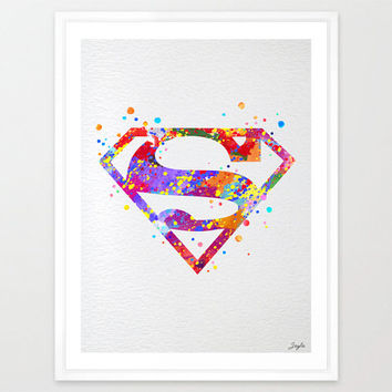 Superman Watercolor illustration Art Print,Wall Art Poster,Home Decor,Wall Hanging,Boys/Girls Room Art,Motivational/Inspirational Gift,No 10