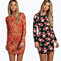 Fashion Women Clause Christmas Long-sleeve  Bohemian Boho  Bodycon Night Club  Party  Vestido  Dress