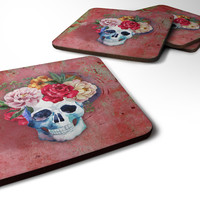 Day of the Dead Red Flowers Skull  Foam Coaster Set of 4 BB5130FC