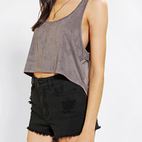 Urban Outfitters - Sparkle & Fade Suede High/Low Cropped Tank Top