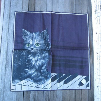 Amazing Vintage Purple Kitten on the Keys Hankie - Angora Kitten Handkerchief - Persian Cat Hankie - Stoffels Pictorial Swiss Gift Hankie
