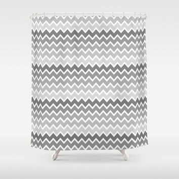 Grey Gray Ombre Chevron Shower Curtain by decampstudios