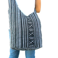 Shoulder Bag Crossbody Nepal Bag Sling Bag Hippie Hobo Bag Boho Bohemian Handmade bag Purse Cross Body Thai bag / Gift Black White Color