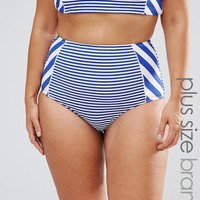 City Chic Curve Breton Stripe Highwaisted Bikini Bottoms