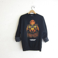 vintage Smokey the Bear sweatshirt. black sweatshirt. slouchy sweatshirt. Jackson Hole, Wyoming novelty sweater