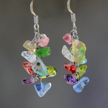 Rainbow colorful chunky gemstone chips dangling chandelier earrings bridesmaids gifts Free US Shipping handmade Anni Designs