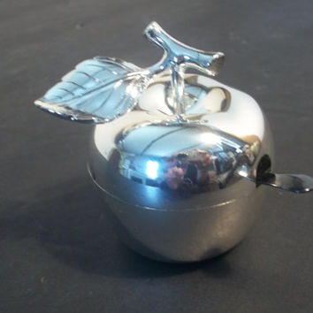 Silver Plate Salt Cellar with Spoon,Collectible Vintage, Castawayacres