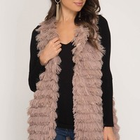 Layered Faux Fur Vest with Pockets- Mocha