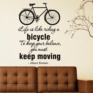 Bicycle Wall Decal Vinyl Lettering Life Is Like Riding A Bicycle Albert Einstein Quote Wall Decals Vinyl Stickers Living Room Decor Q084