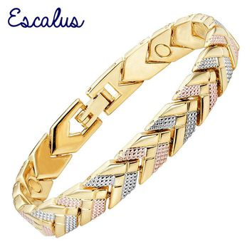 Escalus 2018 Trendy Arrow Magnetic Bracelet For Women 3-Tone Gold Color Bangle Fashion Charm New Bracelets For Girls Jewelry
