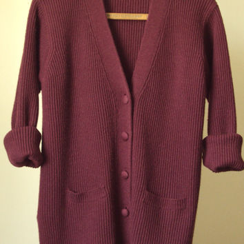 oversized cardigan marsala burgundy vintage 80s 90s wool sweater baggy slouchy womens size