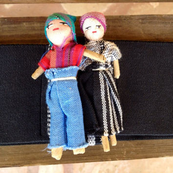 Vintage Mexican Worry Doll Belt - Hippie Ethnic elastic belt featuring two dolls - Cool Hipster belt size M-L