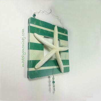 Starfish Rustic Beach Wall Hanging Green and Tan Stripe.  Distressed Look Beach Decor.  Wooden Frame Wall Hanging