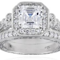 Platinum or Gold Plated Sterling Silver Swarovski Zirconia Asscher Cut Antique Ring Set, Size 8
