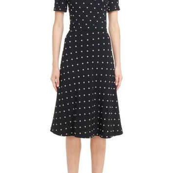 Imitation Pearl Embellished Lily Print Dress