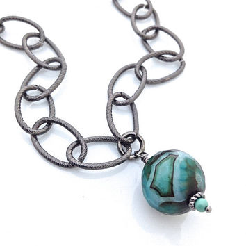 Long Black Chain Necklace, Round Agate, Large Emerald Gemstone, Wrapped Pendant, Teal Necklace, Big Link Chain, Green Pendant