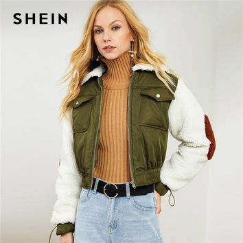 Trendy SHEIN Army Green Highstreet Office Lady Faux Fur Collar and Sleeve Elastic Hem Zip Up Jacket 2018 Autumn Elegant Coats Outerwear AT_94_13