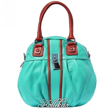Italian Turqoise Blue Genuine Leather Handbag with Long Adjustable Strap