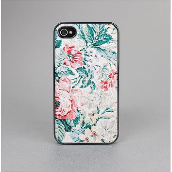 The Coral & Blue Grunge Watercolor Floral Skin-Sert Case for the Apple iPhone 4-4s